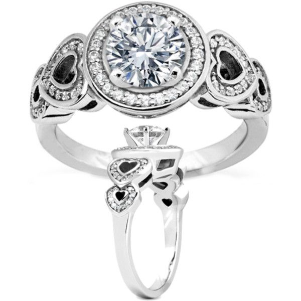 Diamond Engagement Ring Double Open Hearts