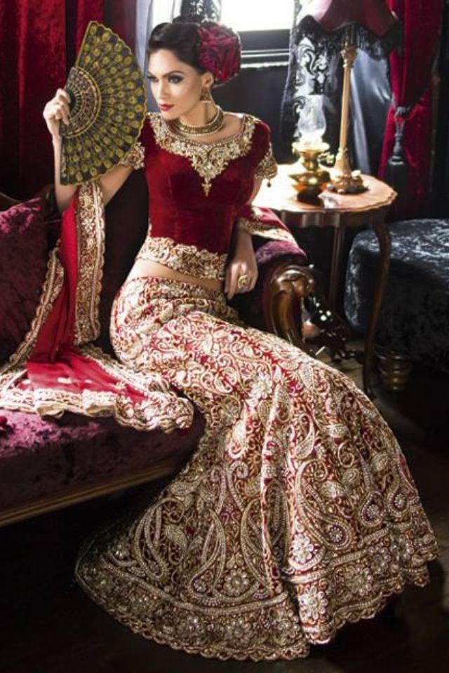 Red Eastern Bridal Kleider Ideen mit Silber und Golden Work
