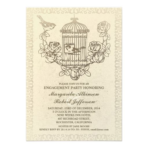 vintage bird cage engagement party invitations