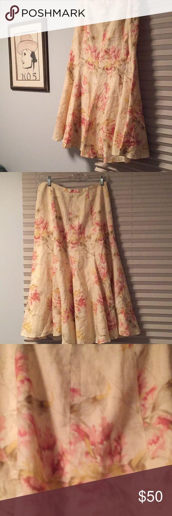 Ralph Lauren linen skirt EUC beautiful linen skirt, hits midi length, I'm 5'5.  Green label Ralph Lauren. Ralph Lauren Skirts Midi