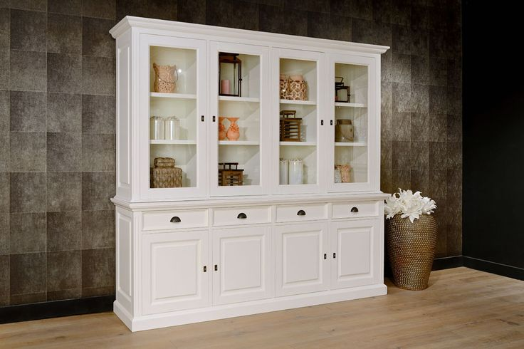 Weiße Vitrine Landhaus, Geschirrschrank weiß Landhausstil, Wohnzimmerschrank weiß Massivholz