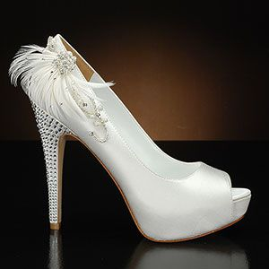 Princess by David Tutera Wedding shoe feather embellishment added to shoe on website