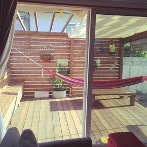 sakutaroさんの、玄関/入り口,ベランダ,DIY,北欧,ベンチ,ウッドデッキ,ハンモック,オリーブ,新築,シェード,パーゴラ,外構,のお部屋写真