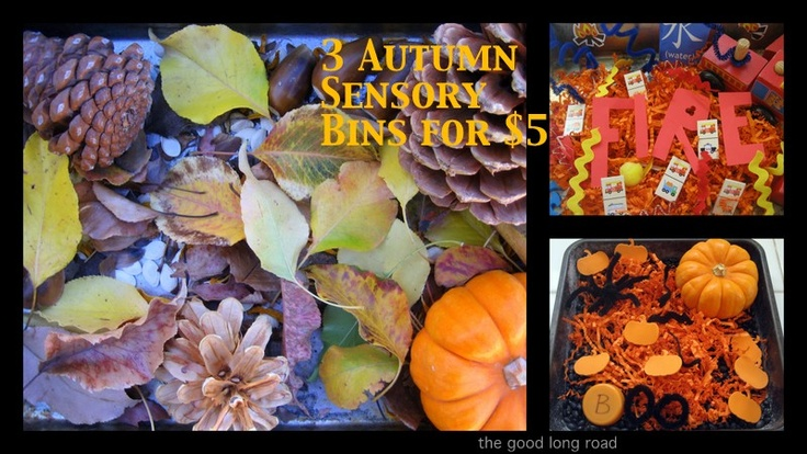 {In Season} - 3 Simple, Fun Fall Sensory Bins for Under 5 Bucks. Plus, I share some of other favorite Fall and Halloween bins, including ideas for babies.