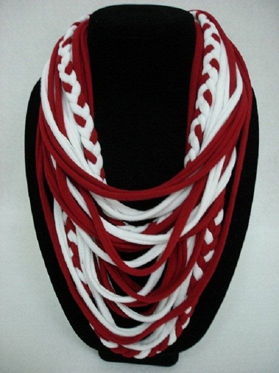 University of Oklahoma OU Team Spirit T-Shirt Necklace Scarf  (Crimson Red and White) on Etsy, $17.99