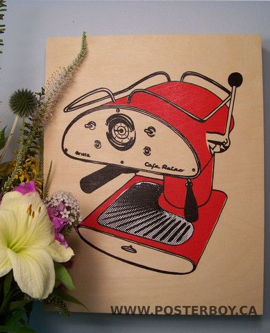 This Bold Image Of A Retro Coffee Machine Is Hand Screen Printed Onto Ready To