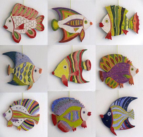 Hecho a mano cerámica pescado decorativo del por ceramicsartdaniel