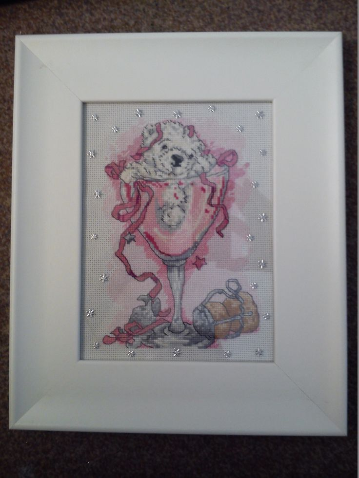white bear in a champagne glass cross stitched and framed by Tulipacious Designs.