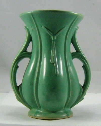 Vintage McCoy Green Double Handle Art Deco Pottery Vase | eBay