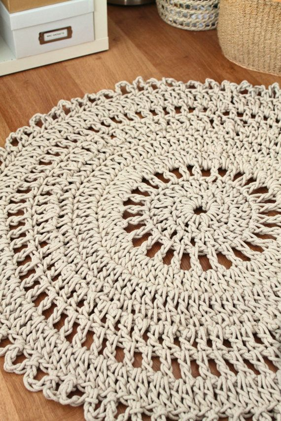 Carpet Rug Crochet Handmade Neutral Shabby Chic Cotton Rope