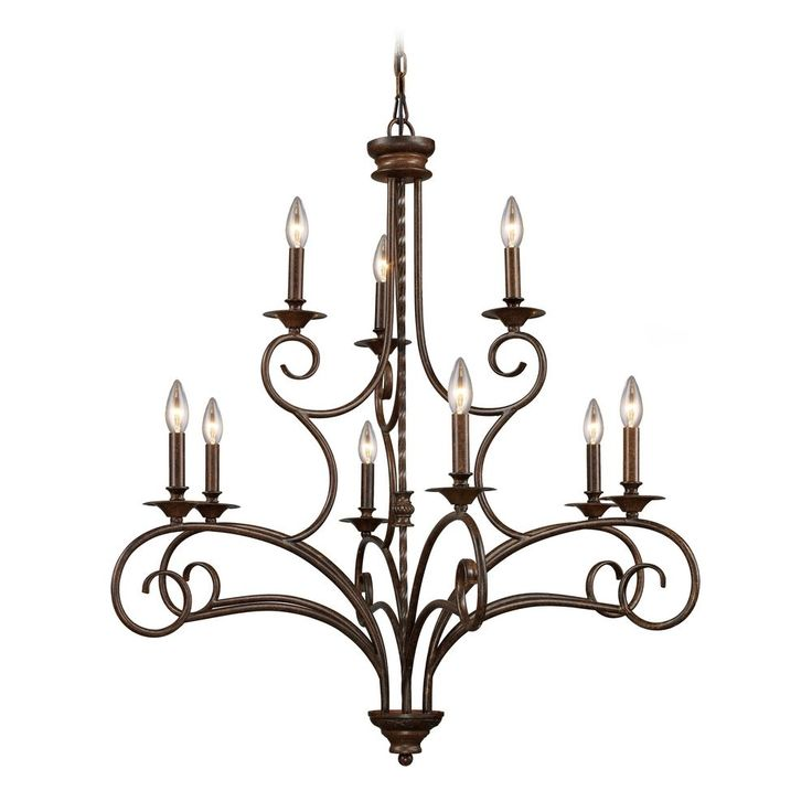 Chandelier In Antique Bronze Finish Foyer LightingElk