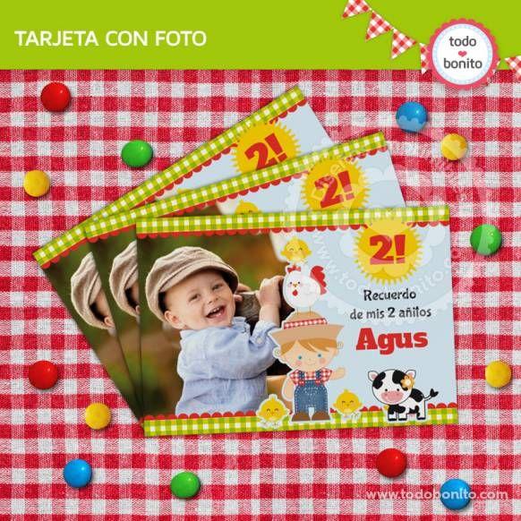 Granja niños: tarjeta con foto