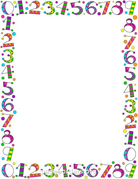 Free Number Border Templates Including Printable Border Paper And Clip Art  Versions. File Formats Include GIF, JPG, PDF, And PNG.  Bordered Paper Printable