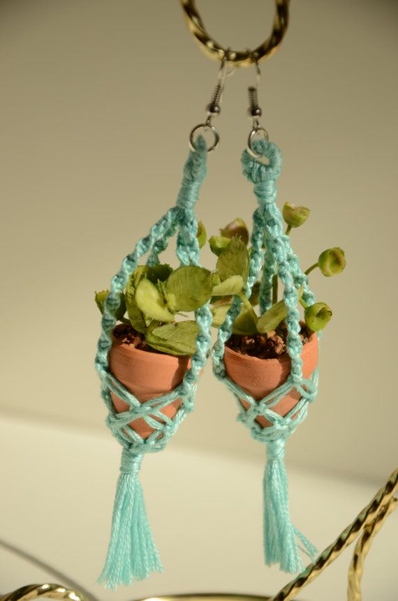 Tiny potted plant earrings with macrame by for Gemsprouts tiny plant jewelry