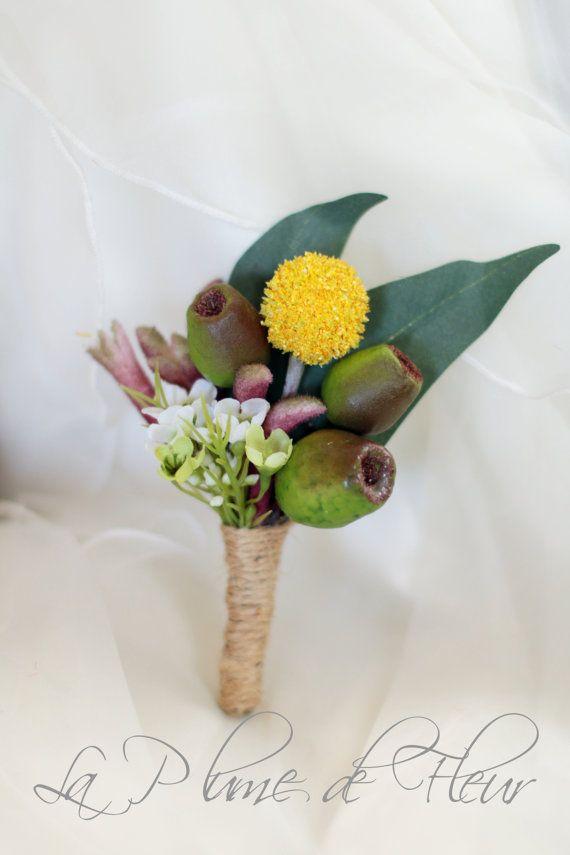 Barton - Australian Native flower Men's Buttonhole / Boutonniere. Billy Button, kangaroo paw, wax flower and gumnuts.
