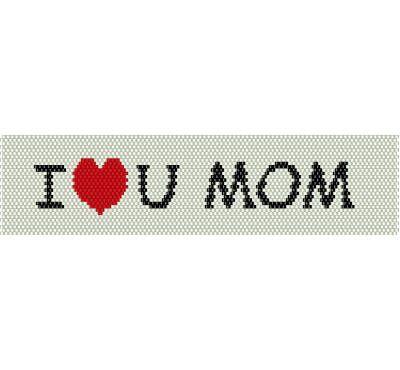 Schema peyote con scritta I love you Mom con sfondo bianco e cuore rosso, festa della mamma, auguri mamma, idea regalo (pdf per bracciale) di AntosCreations su Etsy