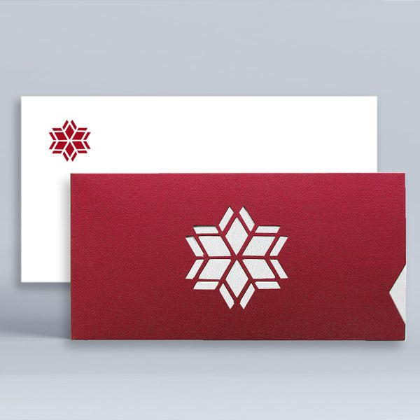 Modern Corporate Holiday Cards UK - Modern Snowflake Red - Polina Perri