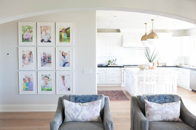 Colorful photo collages. Modern Coastal Family Room - Becki Owens