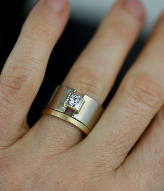 Wedding band modern princess moissanite engagement ring by lolide