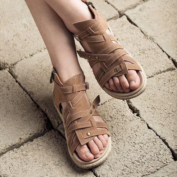 2 colores alta remaches cremallera mujer, hecha a mano suave cuero Vintage sandalias planas, piel sandalias, Gladiador de diseñador de las mujeres sandalias