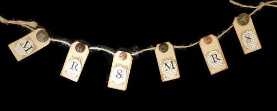 Mr and Mrs BannerWedding SignsBunting BannerBunting by SCWVintage