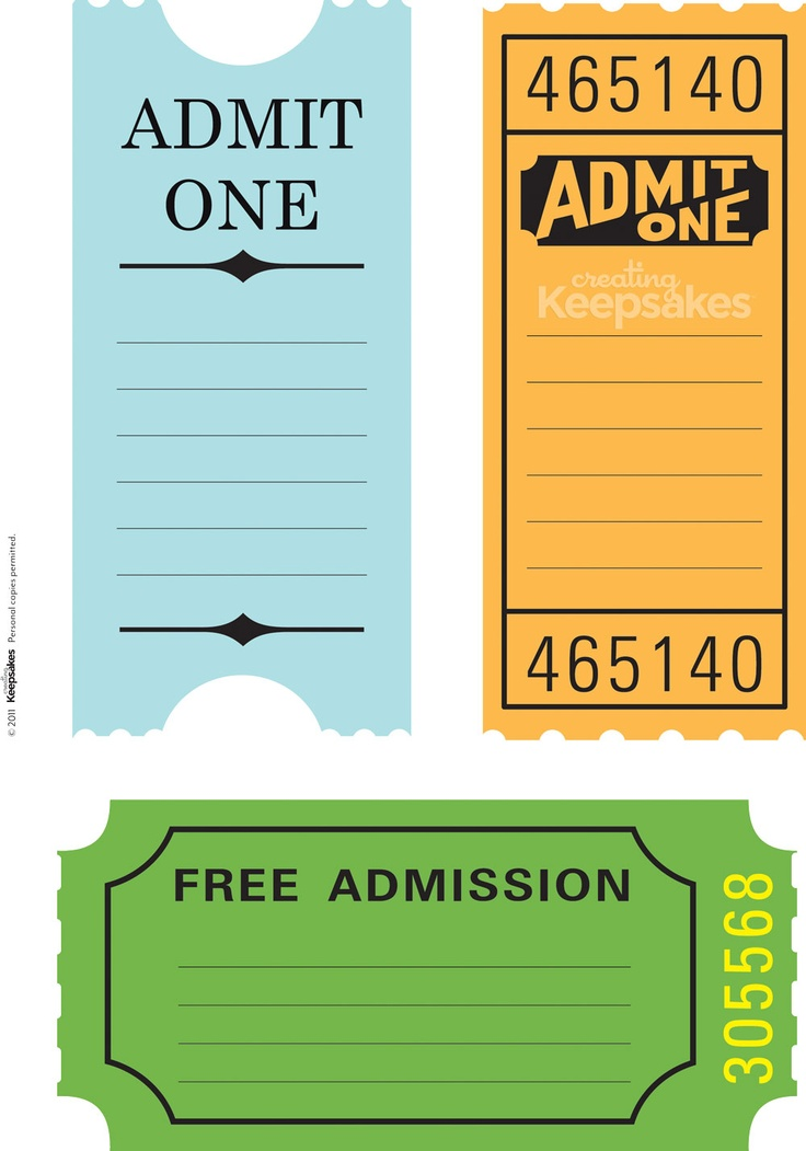 1623 best TEMPLATES AND PRINTABLES images on Pinterest Fabric - admit one ticket template