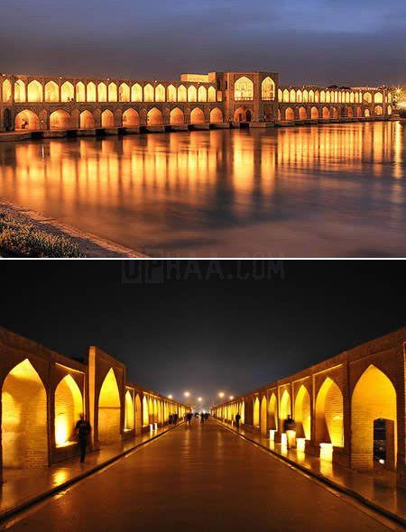 Puente Khaju en Isfahan, Irán.