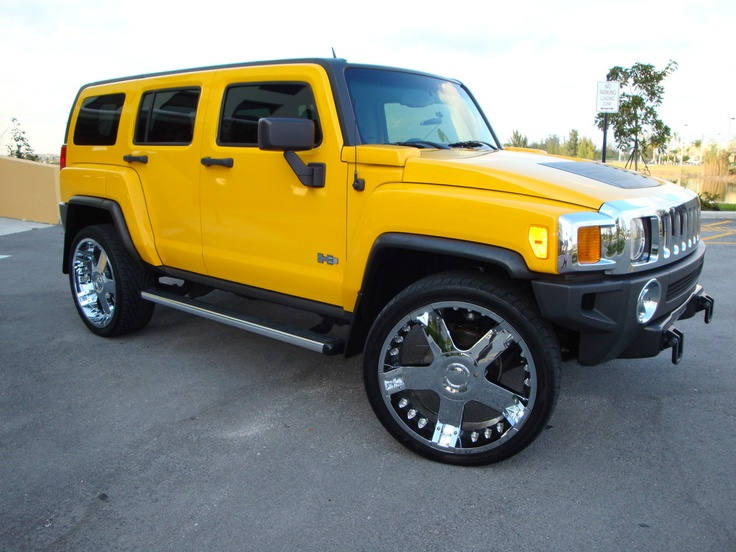 Yellow Hummer H3 SUV Side View