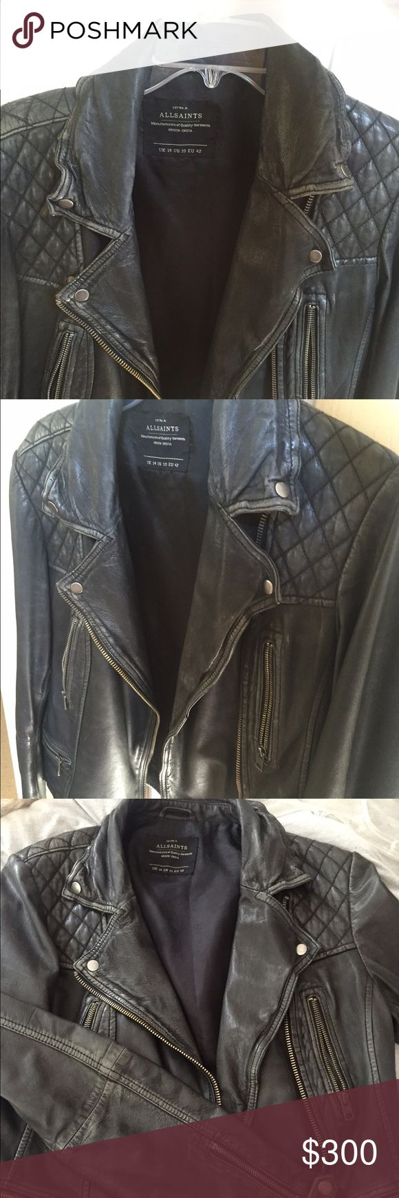 Women's Cargo AllSaints Jacket (Size 10) Ive had my AllSaints jacket for two years, haven't worn it as much as I thought I would. It doesn't fit me right anymore, which is why I am selling it. Still in good condition, all of the zippers and buttons work. Has some natural wear in the leather, but no rips/tears. All in all its a great jacket and one of the best I will have ever owned. Allsaints Jackets & Coats
