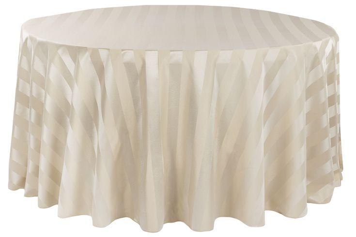 "Jacquard 120"" Round Tablecloth - Stripe Champagne •  $18.99"