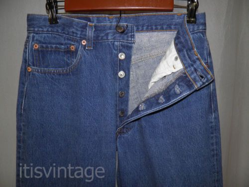 Vintage-1980-039-s-Levis-501-Denim-Blue-Jeans-Button-Fly-Red-Tab-29x32-actual
