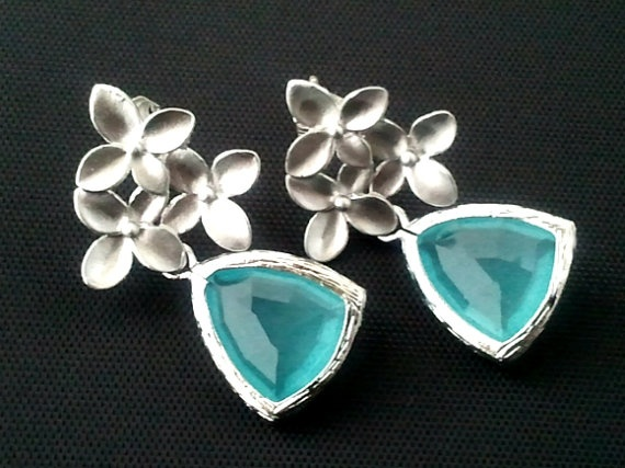 Cherry Blossom with Summer Earrings  Silver by LaLaCrystal on Etsy,