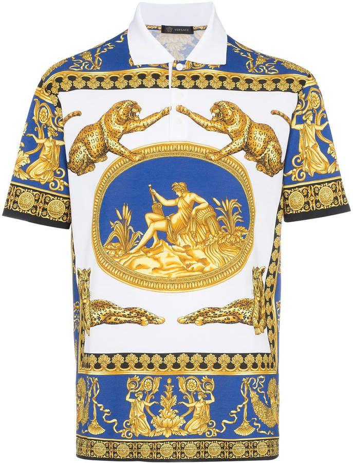 Versace Classic Scene Polo Shirt Farfetch Printed Polo Shirts Versace T Shirt Polo Shirt