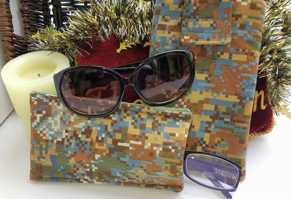Eyeglasses Sunglasses Padded Pouches - Phone Earphones Eye Wear Soft Cases - Eye Glasses Sunglasses Cozies - Set of 2 Glasses Fabric Cases