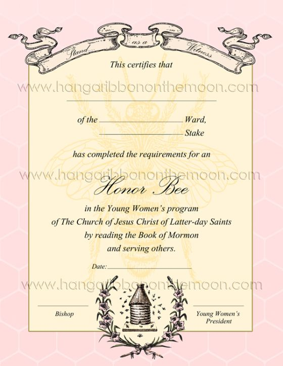 YW Honor Bee Certificate. Free downlad from Hang a Ribbon on the Moon. Editable/saveable PDF and high-quality JPEG file included!