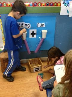 Awesome way for the kiddos to practicing adding! The kiddos will beg to go to this station