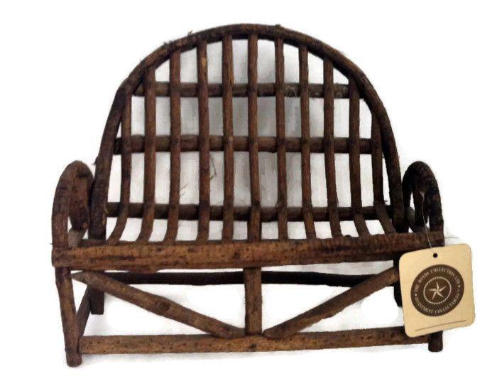 Boyds bears adirondack style twig loveseat bench chair - Adirondack style bedroom furniture ...