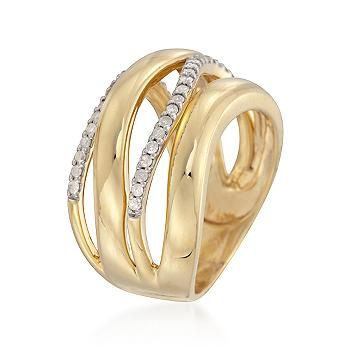 Ross-Simons - .35 ct. t.w. Diamond Multi-Band Ring in 18kt Yellow Gold Over Sterling - #798636