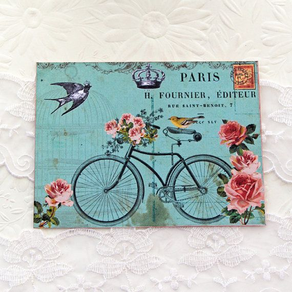 Bicycle Note Cards Flat Crown Bird Bridal by EnchantedQuilling