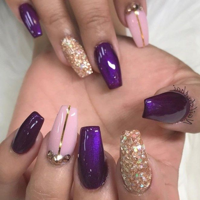 Cute Nails Design 2018 Simple Colors Purple Nail Spring Nails Design Nail Gel Springnails Nails Purple Nail Art Designs Purple Nail Designs Gold Nail Designs