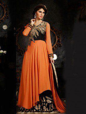 Orange and Black Art Silk Anarkali Suit with Resham Embroidery Work
