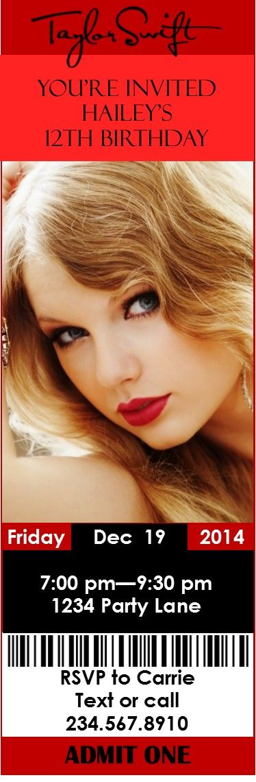 Printable Taylor Swift Party Invitation that you can edit!
