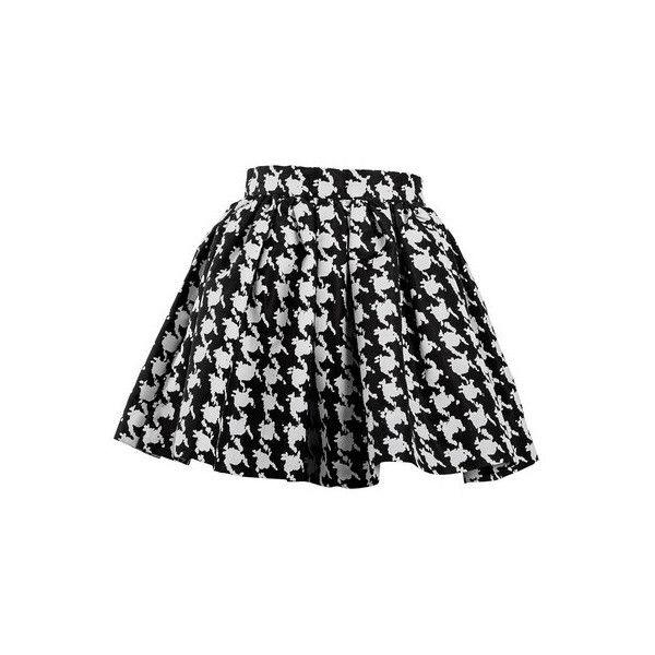 TEEN VOGUE HOUNDSTOOTH (1.880 ARS) ❤ liked on Polyvore featuring skirts, bottoms, faldas, black skirt, black houndstooth skirt, black knee length skirt and houndstooth skirt