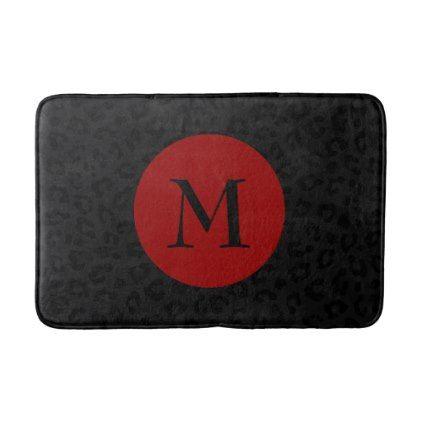 Monogram Panther Print Bath Mat - monogram gifts unique design style monogrammed diy cyo customize