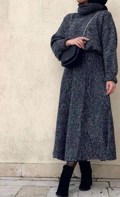 – #hijab knitted A-line dress