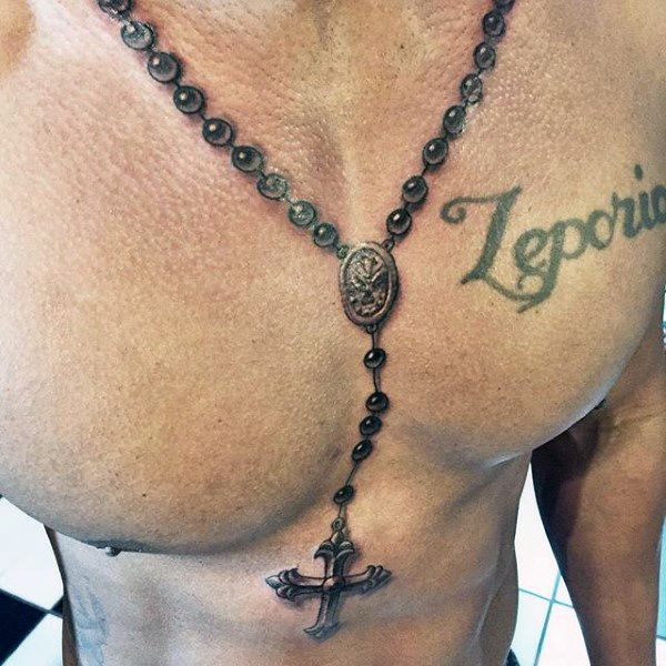 Realistic Black Rosary Tattoo Around Neck And On Chest For Men
