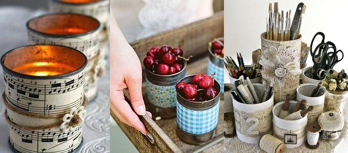 reciclar latas y decoralas con tela o papel