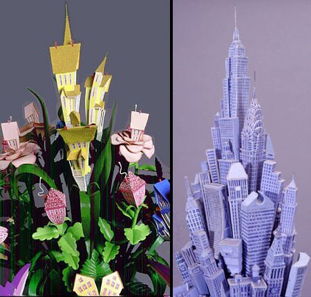"""architecturalflowers11. Flowers alternative for Valentines day… :-) American sculptor and woodcut artist James Grashow named this artwork as """"Houseplant"""" – beautiful flowers made out of miniature buildings and tiny Victorian houses to emphasize the fragile relationship between humans and nature."""