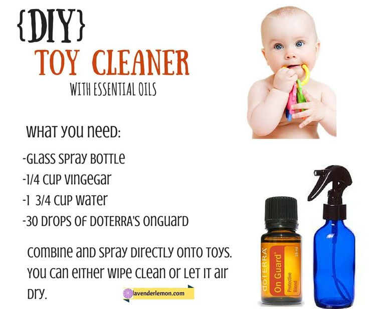 Babies are always putting things in their mouths! So what better thing to have on hand than a natural cleaner to spray on their toys that is actually safe to digest.// doTerra On Guard