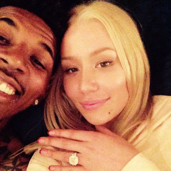 Los Angeles Lakers player Nick Young proposed to rapper Iggy Azalea on his birthday with a 10.43 carat Jason of Beverly Hills engagement ring valued at $500,000. The bride-to-be's ring features an 8.15-carat fancy intense yellow cushion cut center stone with 2.28 carats of white diamonds set onto 18-karat white gold. Fancy, indeed!